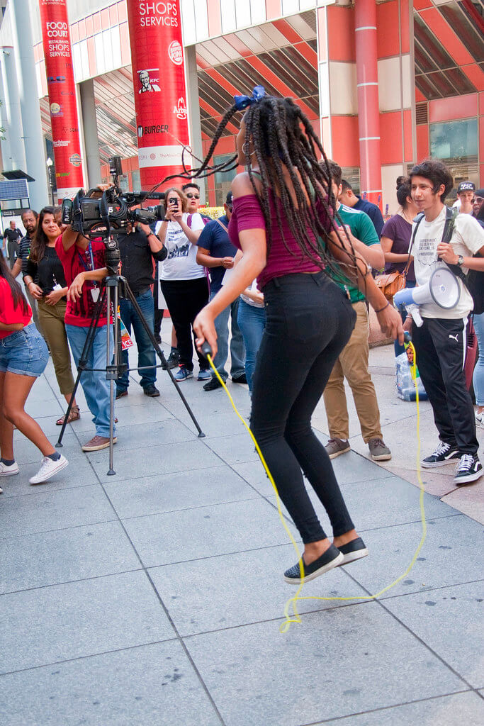 Jumping rope woman